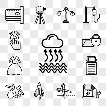 Set Of 13 transparent editable icons such as evaporation, ev charging, cut here, stellar lumens, quarry, truck, prom, data breach, take a tour, web ui icon pack, transparency set