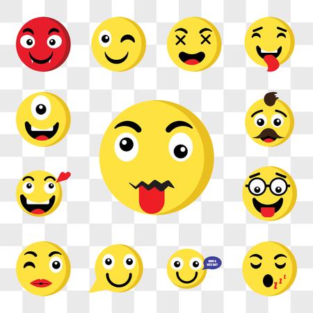 Conjunto de 13 iconos transparentes como lengua emoji, durmiendo feliz beso nerd enamorado padre web ui paquete de iconos editables, conjunto de transparencia
