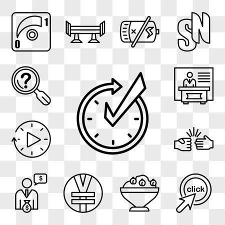 Set Of 13 transparent editable icons such as realtime, click me, hummus, rmb, cfo, rock paper scissors, downtime, exhibitors, problem statement, web ui icon pack, transparency set Ilustrace