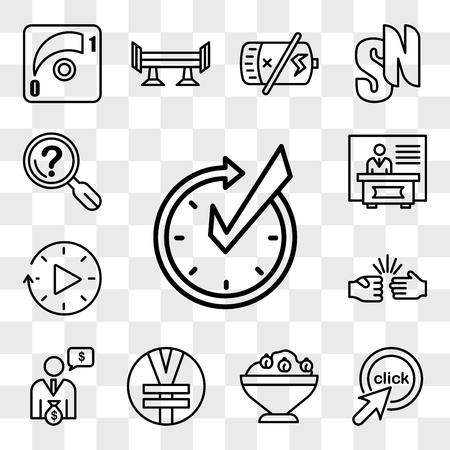 Set Of 13 transparent editable icons such as realtime, click me, hummus, rmb, cfo, rock paper scissors, downtime, exhibitors, problem statement, web ui icon pack, transparency set Illustration