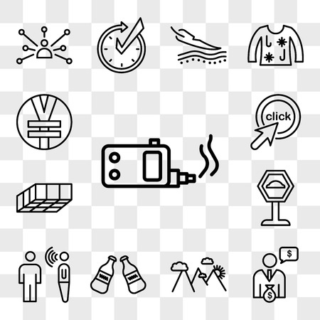 Set Of 13 transparent editable icons such as ecig, cfo, hill station, cola bottle, speech therapy, speed bump, mould, click me, rmb, web ui icon pack, transparency set Illustration
