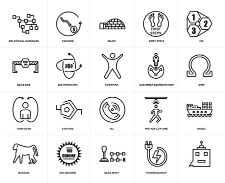 Set Of 20 simple editable icons such as, ohm, 123, first steps, baboon, cheaper, motion capture, dead end, web UI icon pack, pixel perfect