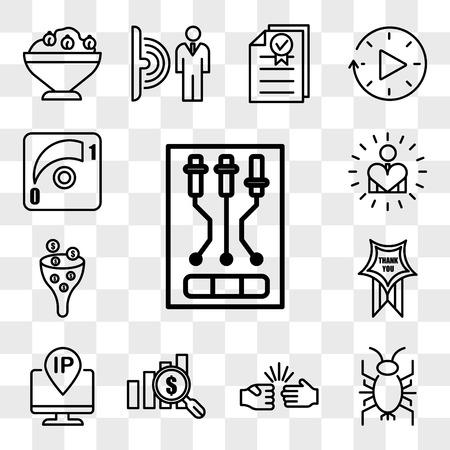 Set Of 13 transparent icons such as, cricket bug, rock paper scissors, value proposition, ip address, thankyou, sales pipeline, self esteem, web ui editable icon pack, transparency set
