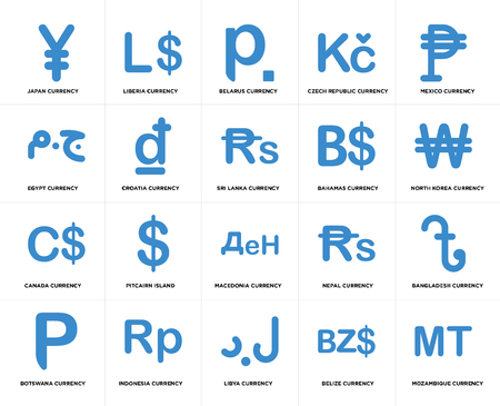 Set Of 20 simple editable icons such as North Korea currency, Libya Indonesia Egypt Sri Lanka web UI icon pack, pixel perfect