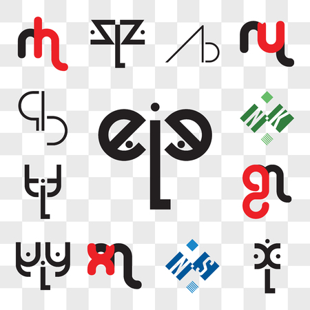 Conjunto de 13 iconos editables transparentes como eLe, xL, NS o SN, mx xm, aLa, mg gm, tLt, NK KN, BQ, QB, paquete de iconos web ui, conjunto de transparencia Ilustración de vector