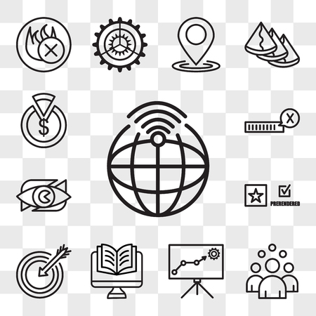 Set Of 13 transparent editable icons such as telemetry, headcount, lms, Studies, our mission, prerende, neighborhood watch, unconfirmed, capex, web ui icon pack, transparency set