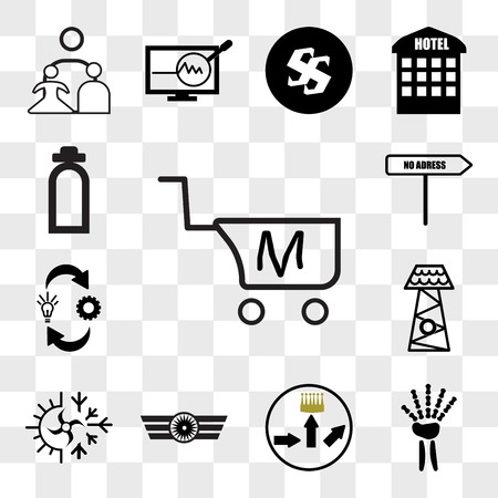 Set Of 13 transparent icons such as shop cart m letter, radiologist, leaderboard, Airforce, hvac, lifeguard tower, omnichannel, no address, web ui editable icon pack, transparency set