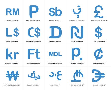 Set Of 20 simple editable icons such as Chile currency, Iraq Kuwait Liberia Gambia web UI icon pack, pixel perfect