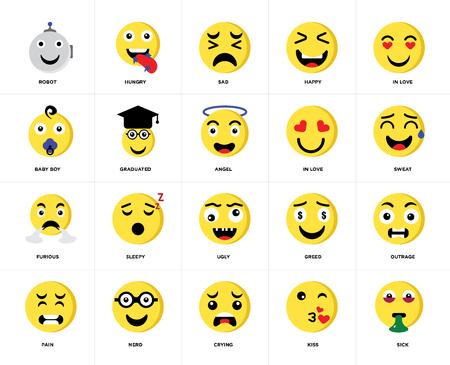 Conjunto de 20 iconos como enfermo, beso, llanto, nerd, dolor, enamorado, feo, furioso, graduado, triste, paquete de iconos editables de la interfaz de usuario web, pixel perfect