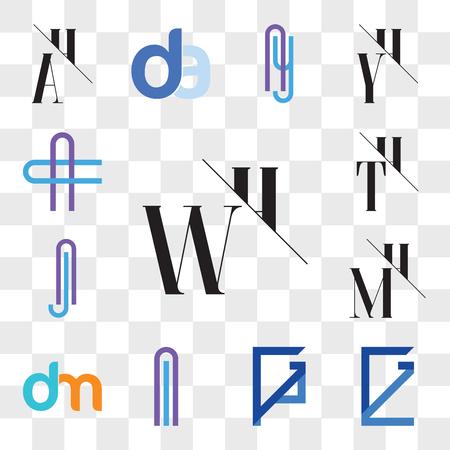 Set Of 13 transparent editable icons such as WH, HW, GZ, ZG, GP, PG, Al or lA Letter, dm, md, MH, HM, Aj jA TH, HT, AC CA web ui icon pack, transparency set Ilustração