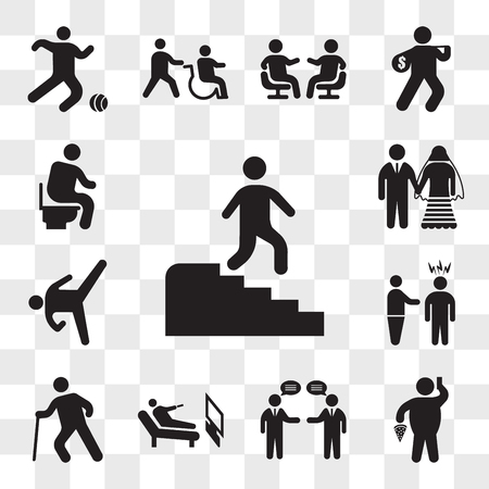 Set Of 13 transparent icons such as Man descending stairs, Fat With Pizza and Telephone, Businessmen talking, Lying watching tv, Old man walking, web ui editable icon pack, transparency  イラスト・ベクター素材
