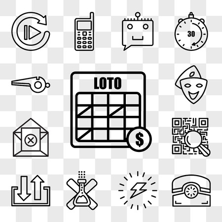 Set Of 13 transparent editable icons such as loto, phone, energizing, no preservatives, input output, qr scanner, unsubscribe, cosplay, whistle, web ui icon pack, transparency set Stock Illustratie