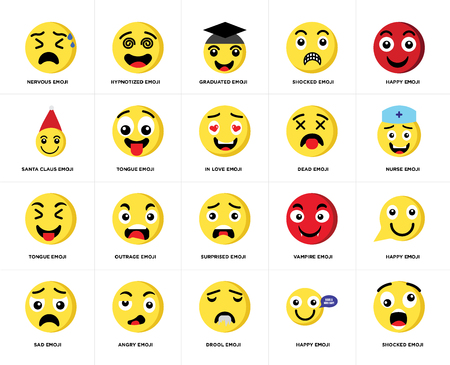 Set Of 20 simple editable icons such as Shocked emoji, Nurse Happy Sad Hypnotized Vampire Santa claus web UI icon pack, pixel perfect