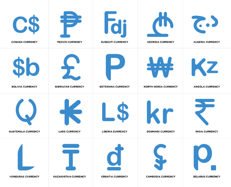 Set Of 20 simple editable icons such as Angola currency, Croatia Kazakhstan Bolivia Botswana web UI icon pack, pixel perfect Ilustração