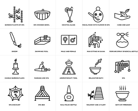 Set Of 20 simple editable icons such as Spa wooden bowl, walkway and a plant, Hand leaf, spa bed, discount, Spa, Swimming pool, web UI icon pack, pixel perfect Illustration