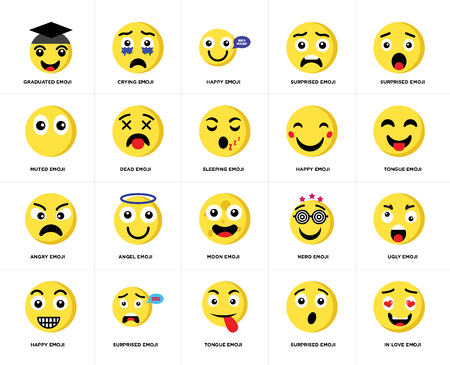Set Of 20 simple editable icons such as In love emoji, Tongue Surprised Happy Crying Nerd Muted web UI icon pack, pixel perfect