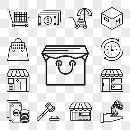 Set Of 13 transparent editable icons such as Bag, Get money, Store, Justice, Change, Barbershop, Rewind time, web ui icon pack, transparency set Illustration