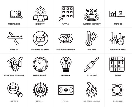 Set Of 20 simple editable icons such as sniper zoom, real time analytics, prerende, customer centricity, most read, headcount, 3.5 mm jack, bobby pin, web UI icon pack, pixel perfect