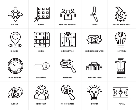Set Of 20 simple editable icons such as futsal, innvation, electromechanical, ortho, livechat, waffle, shaniwar wada, location, web UI icon pack, pixel perfect 일러스트