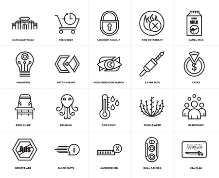 Set Of 20 simple editable icons such as ksa flag, capex, camel milk, fire retardant, remove ads, pre order, tumbleweed, innvation, web UI icon pack, pixel perfect