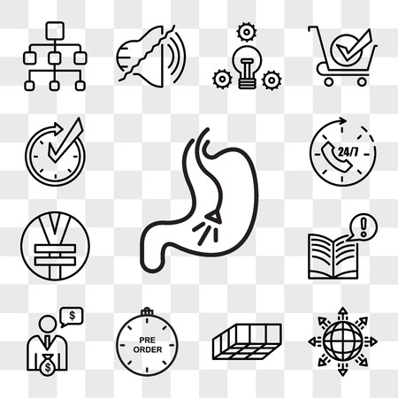 Set Of 13 transparent editable icons such as endoscopy, global expansion, mould, preorder, cfo, interesting facts, rmb, 24x7, realtime, web ui icon pack, transparency set