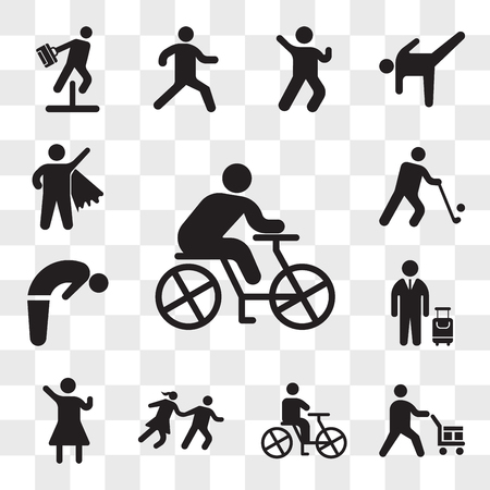 Set Of 13 transparent icons such as Cyclist, Worker loading boxes, Person riding a bicycle, Couple Running, Woman Winning Gesture, Traveler with suitcase, web ui editable icon pack, transparency