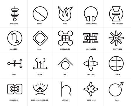Conjunto de 20 iconos como Marte, buena suerte, Urano, omnipresencia de los dioses, amistad, cambios de tiempo, conocimiento, zinc, espíritu, jabón, fuego, paquete de iconos editables de la interfaz de usuario web, píxel perfecto