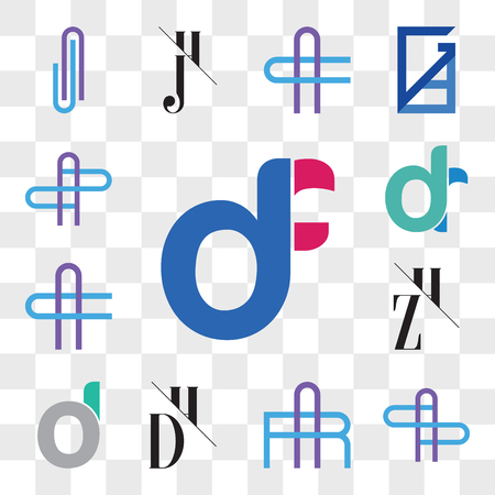 Set Of 13 transparent editable icons such as df, fd, AS or SA Letter, AR RA DH, HD, d, oi, do, ZH, HZ, AC CA dr, rd, AZ ZA web ui icon pack, transparency set Ilustração