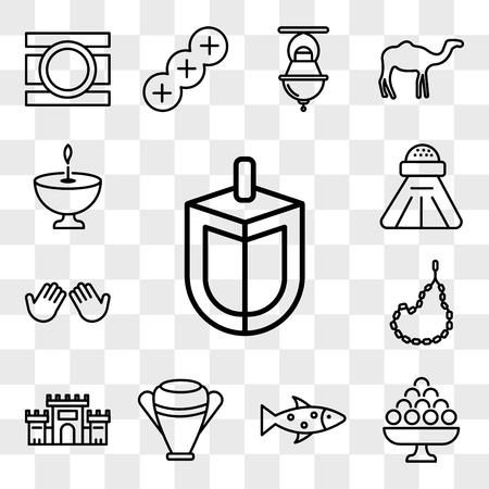 Set Of 13 transparent icons such as Dreidel, Laddu, Fish, Manna Jar, Solomon Temple In Jerusalem, Muslim Tasbih, Dua Hands, Religious Salt, web ui editable icon pack, transparency set Illustration