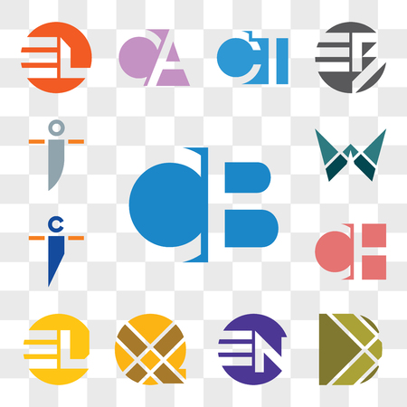 Set Of 13 transparent editable icons such as CB BC, D Letter, EN NE, X EL LE, CH HC, ci ic, W oi io, web ui icon pack, transparency set