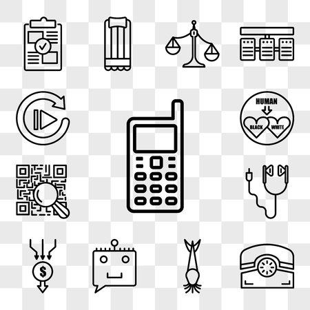 Set Of 13 transparent editable icons such as handphone, phone, catfish, chat bot, aggregator, earbud, qr scanner, interracial, replay, web ui icon pack, transparency set Çizim