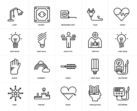 Set Of 20 icons such as Voltmeter, Intellectual, Heart, Podium, Star, Positive, Wires, Glove, Light bulb, Measuring tape, web UI editable icon pack, pixel perfect Illustration