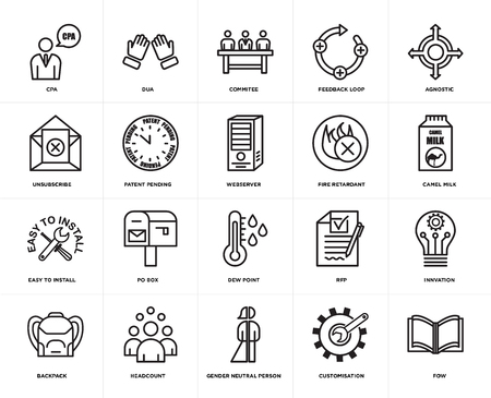 Set Of 20 simple editable icons such as fow, camel milk, agnostic, feedback loop, Backpack, dua, rfp, unsubscribe, web UI icon pack, pixel perfect
