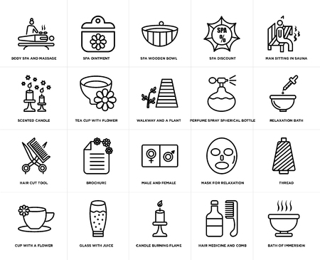Set Of 20 simple editable icons such as Relaxation bath, Candle burning flame, glass with juice, scented candle, walkway and a plant, web UI icon pack, pixel perfect