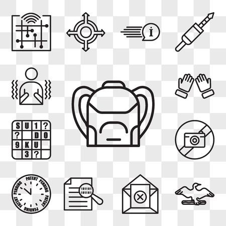 Set Of 13 transparent icons such as Backpack, cormorant, unsubscribe, data integrity, patent pending, picture not available, sudoku, dua, web ui editable icon pack, transparency set