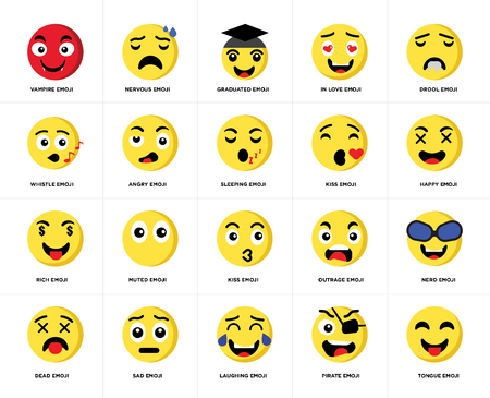 Set Of 20 simple editable icons such as Tongue emoji, Happy Drool In love Dead Nervous Outrage Whistle web UI icon pack, pixel perfect