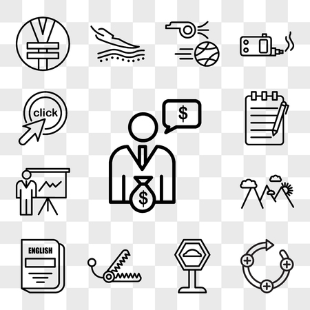 Set Of 13 transparent editable icons such as cfo, feedback loop, speed bump, bear trap, english subject, hill station, expo, essay writing, click me, web ui icon pack, transparency set