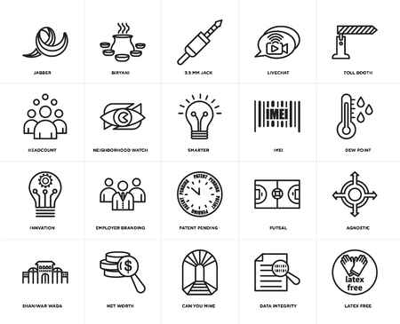 Set Of 20 simple editable icons such as latex free, dew point, toll booth, livechat, shaniwar wada, biryani, futsal, headcount, web UI icon pack, pixel perfect