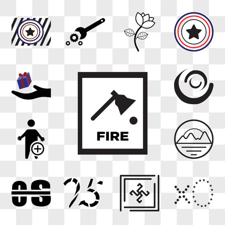 Set Of 13 transparent editable icons such as fire dept, xo, Black swastik, 25years, occupational therapy, pinnacle, swish, perks, web ui icon pack, transparency set