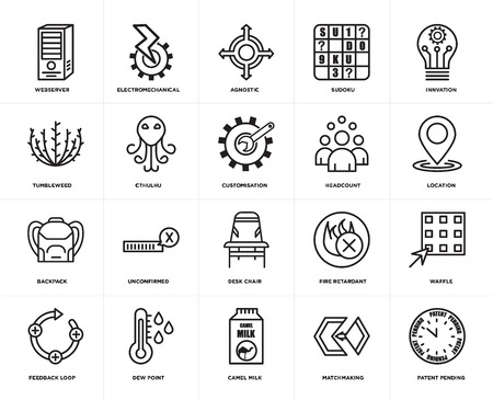 Set Of 20 simple editable icons such as patent pending, location, innvation, sudoku, feedback loop, electromechanical, fire retardant, tumbleweed, web UI icon pack, pixel perfect 일러스트