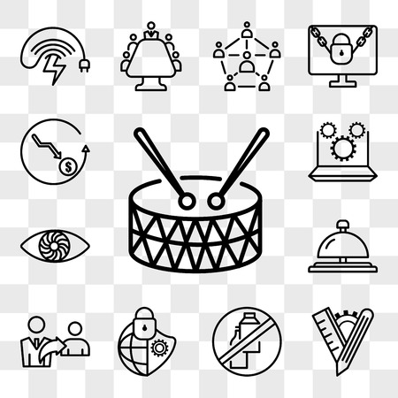 Set Of 13 transparent icons such as marching band, tailor made, dairy free, cybersecurity, referrals, concierge bell, hypnosis, marketing automation, web ui editable icon pack, transparency set