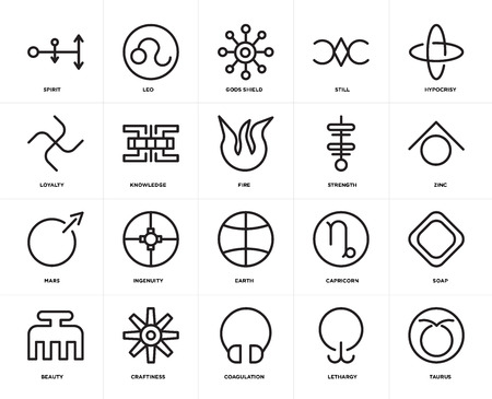 Set Of 20 icons such as Taurus, Lethargy, Coagulation, Craftiness, Beauty, Hypocrisy, Strength, Earth, Mars, Knowledge, Gods shield, web UI editable icon pack, pixel perfect