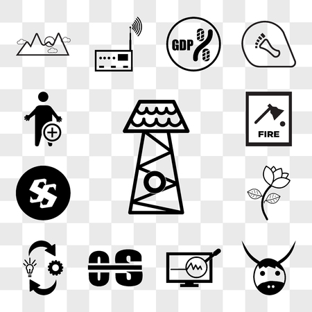 Set Of 13 transparent icons such as lifeguard tower, yak, proactive, occupational therapy, omnichannel, beauty parlour, Black swastik, fire dept, web ui editable icon pack, transparency set Illustration