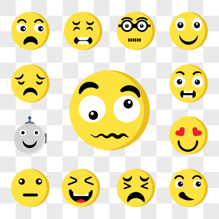 Set Of 13 transparent editable icons such as Confused, Cool, Sad, Happy, In love, Robot, Outrage, web ui icon pack, transparency set Stock Illustratie