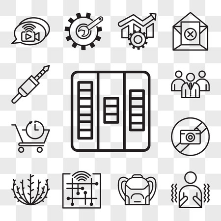Set Of 13 transparent icons such as kanban, shivering, Backpack, digitalisation, tumbleweed, picture not available, pre order, employer branding, web ui editable icon pack, transparency set