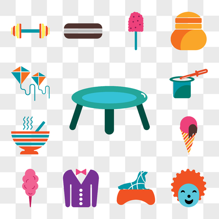 Set Of 13 transparent editable icons such as Trampoline, Clown, Seal, Tuxedo, Cotton candy, Ice cream, Peas, Magic trick, Kite, web ui icon pack, transparency set Illustration