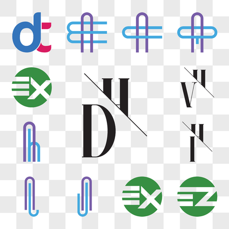 Set Of 13 transparent editable icons such as DH, HD, EZ ZE, EX XE, AJ or JA Letter, AL LA IH, HI, Ah hA VH, HV, web ui icon pack, transparency set