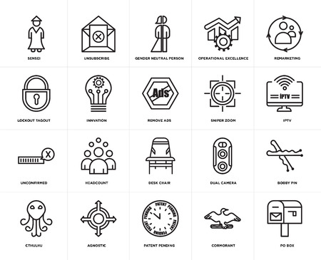 Set Of 20 simple editable icons such as po box, iptv, remarketing, operational excellence, cthulhu, unsubscribe, dual camera, lockout tagout, web UI icon pack, pixel perfect Stock Illustratie
