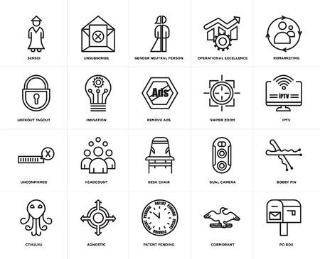 Set van 20 eenvoudige bewerkbare pictogrammen zoals po box, iptv, remarketing, operational excellence, cthulhu, uitschrijven, dubbele camera, lockout tagout, web UI icon pack, pixel perfect Vector Illustratie