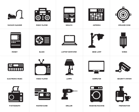 Set Of 20 simple editable icons such as Preparation, Wires, Speaker cone, Antenna, Photograph, Music player, Computer, Money, web UI icon pack, pixel perfect